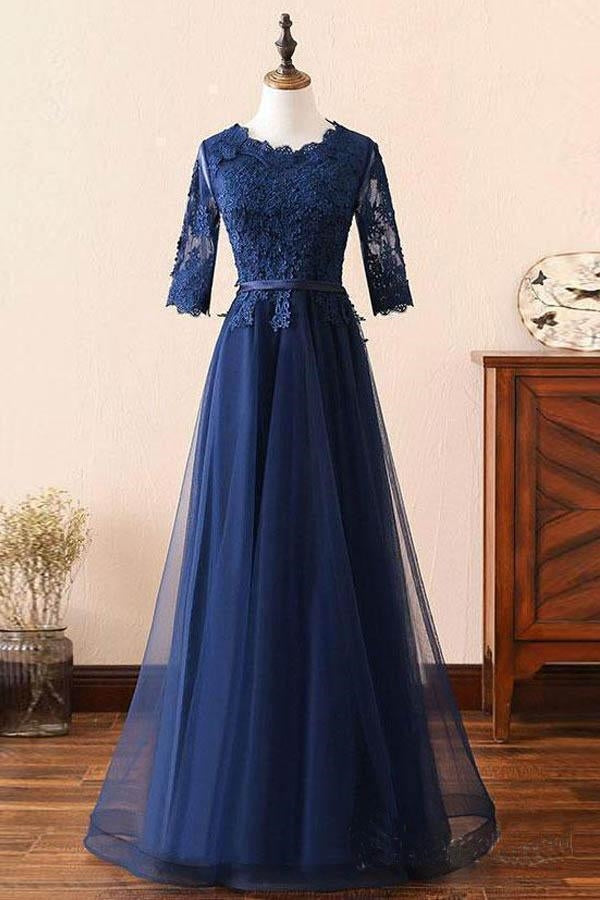Custom Made Long Sleeves Navy Blue Lace Prom Dress, Long Sleeves Lace Bridesmaid Dress, Long Sleeves Navy Blue Lace Formal Graduation Evening Dress