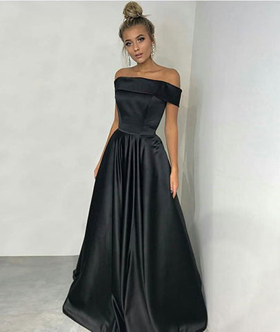Custom Made Off Shoulder Black Satin Long Prom Dresses, Black Long Evening Dresses Formal Dresses, Black Graduation Dresses