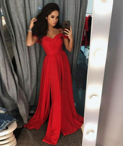Custom Made Off Shoulder Red Long Prom Dresses With Slit, Off Shoulder Red Formal Dresses