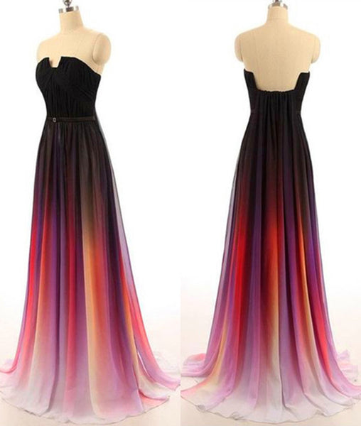 Custom Made Open Back Ombre Colorful Chiffon Prom Dresses, Open Back Evening Dresses