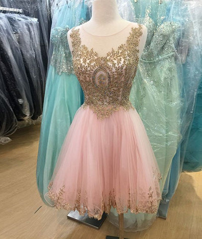 Custom Made Round-Neck Lace Short Prom Dresses, Pink Prom Dresses, Pink Homecoming Dresses