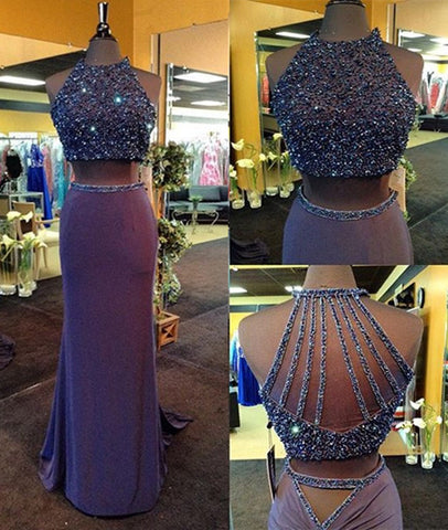 Custom Made Round-Neck Two-Pieces Beaded Prom Dresses, Long Evening Dresses, Prom Gown