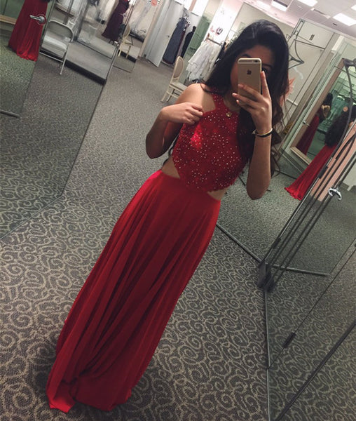 Custom Made Round Neck Beaded Red Prom Dresses, Red Beaded Evening Dresses