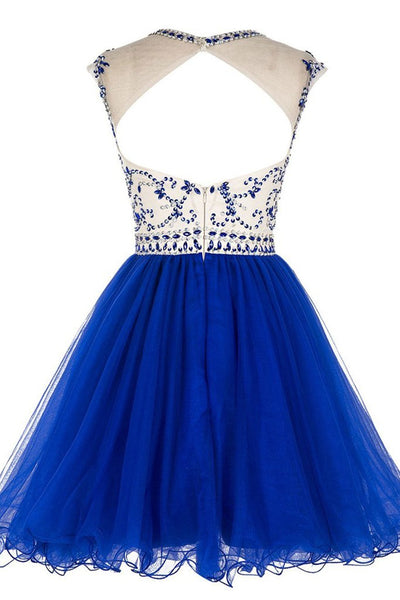 Custom Made Round Neck Cap Sleeves Beading Black Short Prom Dresses Royal Blue Homecoming Dresses, Evening Dresses 2019