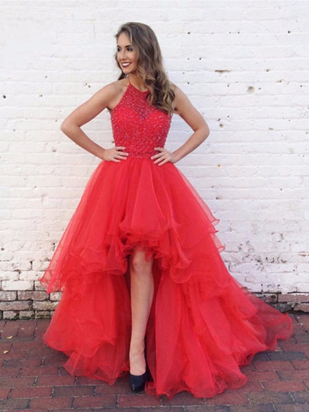Custom Made Round Neck High Low Red Long Prom Dresses, High Low Red Formal Dresses, Red Evening Dresses