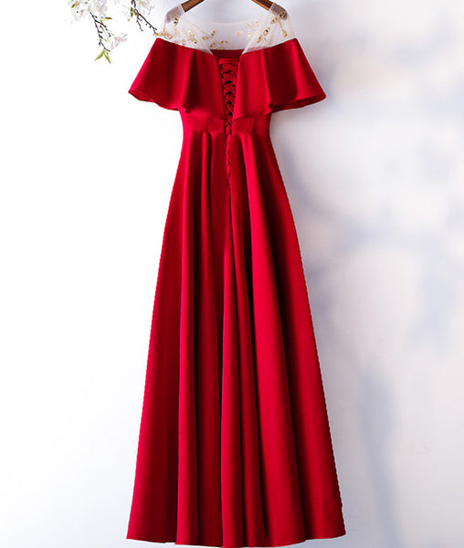 Custom Made Round Neck Red Long Prom Dresses, Red Prom Gown, Formal Dresses