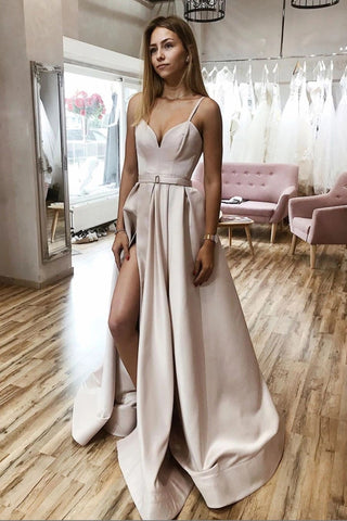 Custom Made Simple Champagne Satin Long Prom Dress with High Slit, Champagne Formal Dress, Cheap Champagne Evening Dress