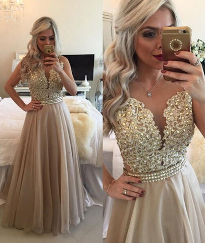 Custom Made Sleeveless Champagne Prom Dress, Champagne Evening Dresses
