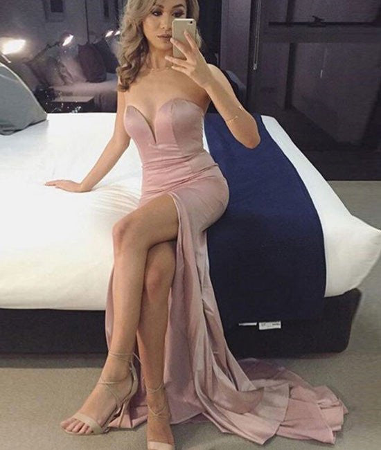 Custom Made Sweetheart-Neck Long Pink Prom Dresses, Pink Evening Dresses