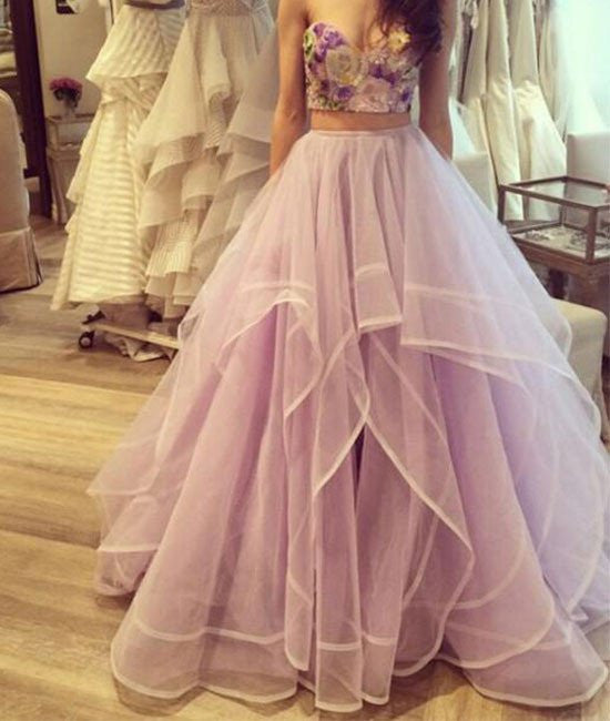 Custom Made Sweetheart Neck Two Pieces Prom Dresses, Formal Dresses