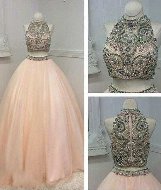 Custom Made Two Pieces High-Neck Beaded Pink Tulle Prom Dresses, Pink Evening Dresses