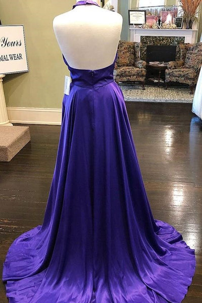 Custom Made Unique Backless Purple Satin Long Prom Dress, Backless Purple Formal Dress, Purple Evening Dress