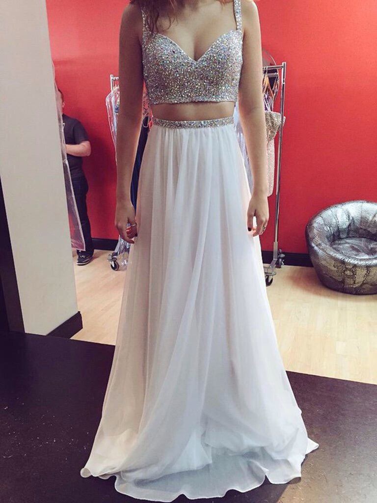 Custom Made White A Line Two Pieces Sweetheart Neck Sequin Long Prom Dresses, Two Pieces White Evening Dresses