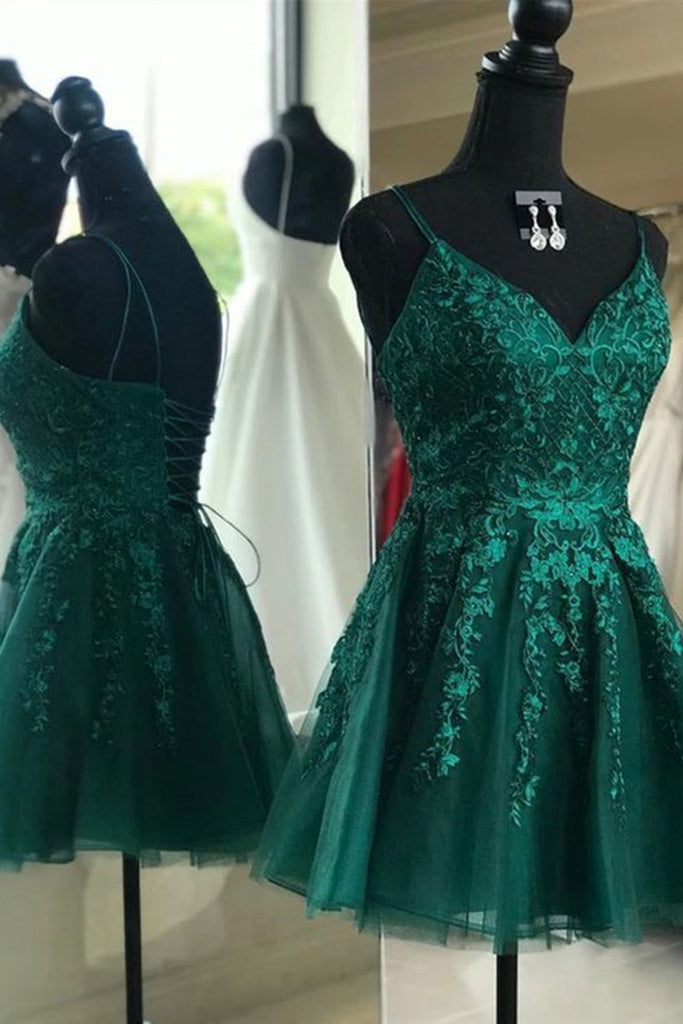 Cute A Line V Neck Backless Green Lace Prom Dress, Short Backless Green Lace Formal Graduation Homecoming Dress