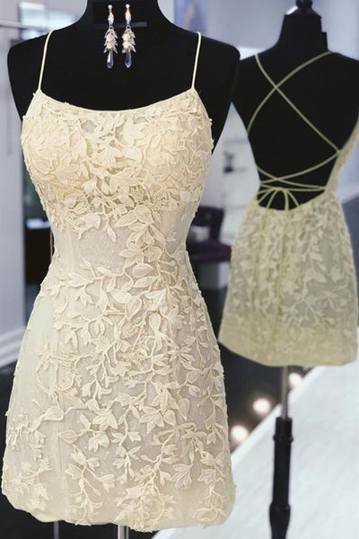 Cute Backless Yellow Lace Short Prom Dress, Yellow Lace Formal Graduation Homecoming Dress
