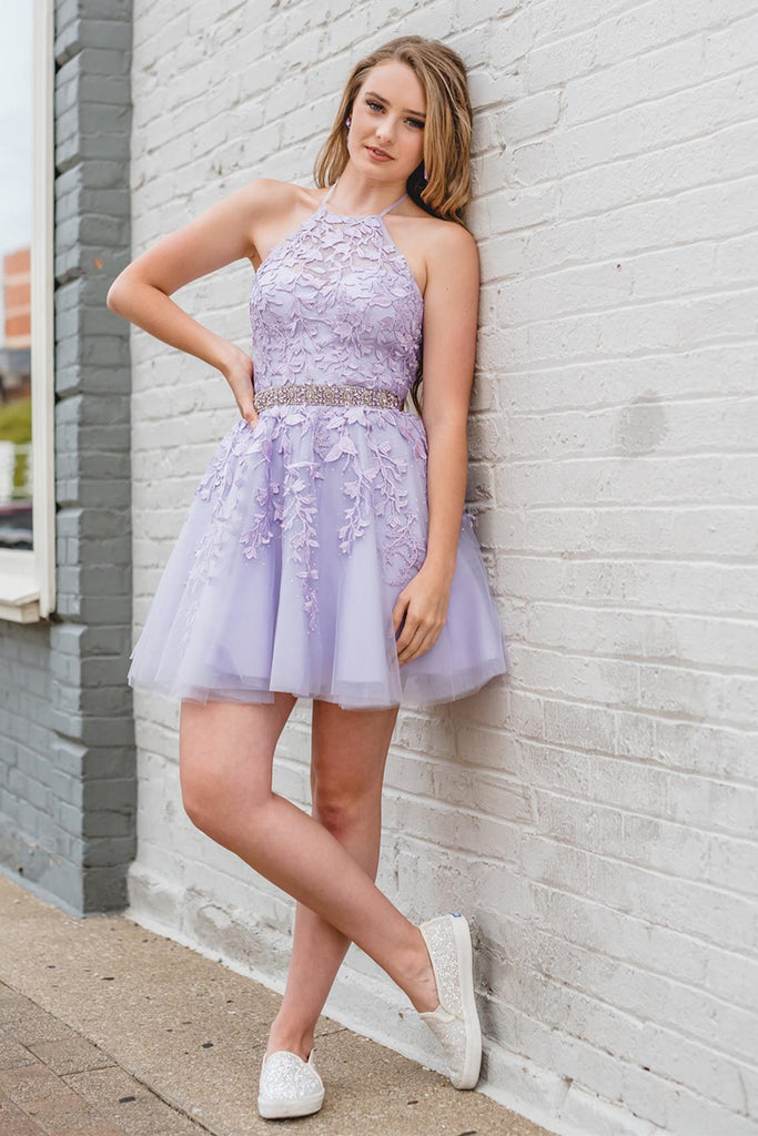 Cute Halter Neck Short Purple Lace Prom Dress, Purple Lace Formal Graduation Homecoming Dress