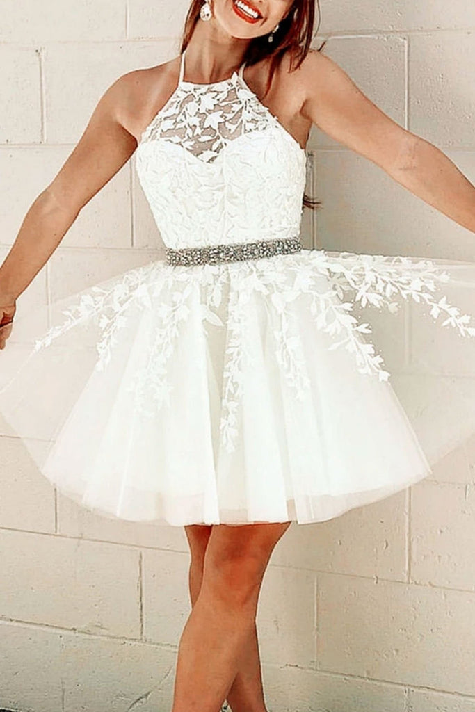 Cute Halter Neck White Lace Short Prom Dress with Belt, White Lace Formal Graduation Homecoming Dress