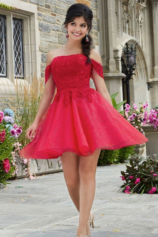 Cute Off Shoulder Red Lace Short Prom Dress, Red Lace Formal Graduation Homecoming Dress