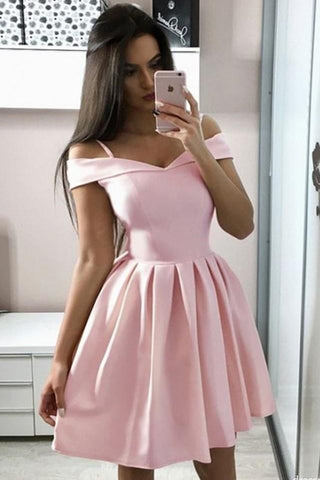 Cute Off the Shoulder Pink Short Prom Dress, Off Shoulder Pink Homecoming Dress, Pink Formal Evening Dress