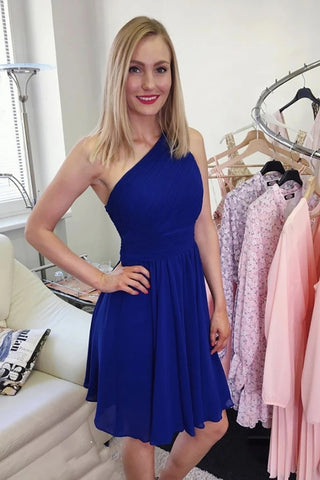 Cute One Shoulder Blue/Pink Short Prom Dress, Blue/Pink Formal Graduation Homecoming Dress