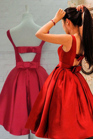 Cute Open Back Knee Length Red Prom Dress, Knee Length Red Homecoming Dress, Short Red Formal Evening Dress