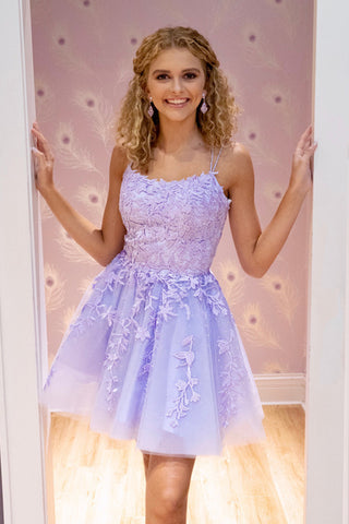 Cute Short Purple Lace Prom Dress, Purple Lace Formal Graduation Evening Dress, Purple Homecoming Dress