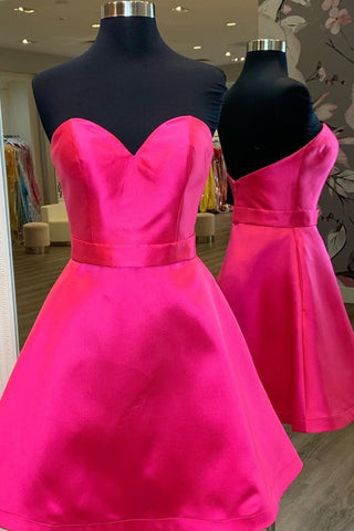 Cute Sweetheart Neck Short Hot Pink Prom Dress, Hot Pink Formal Graduation Homecoming Dress, Cocktail Dress