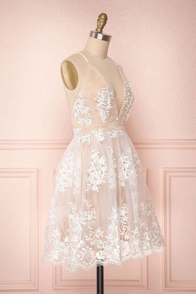 Cute V Neck Backless Pink Lace Appliques Short Prom Dress, Pink Lace Formal Graduation Homecoming Dress