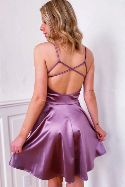 Cute V Neck Backless Purple Short Prom Dress Homecoming Dress, Backless Purple Formal Graduation Evening Dress, Cocktail Dress