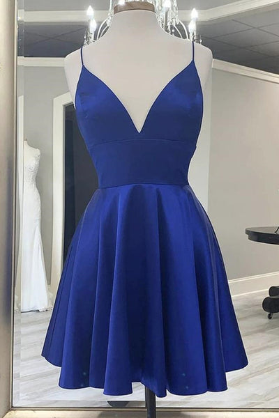 Cute V Neck Backless Short Royal Blue Prom Dress with Straps, Backless Royal Blue Formal Graduation Homecoming Dress
