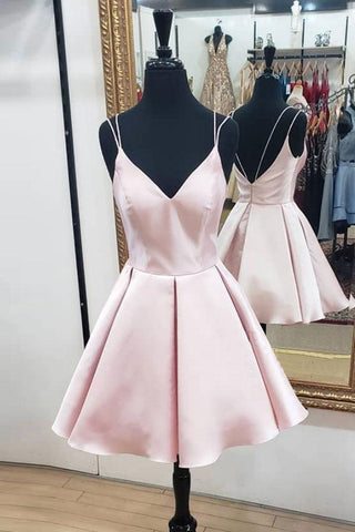Cute V Neck Open Back Pink Short Prom Dress, Backless Pink Homecoming Dress, Short Pink Formal Evening Dress