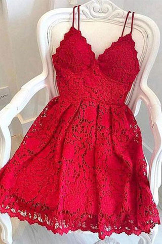 Cute V Neck Short Red Lace Prom Dress with Straps, Short Red Lace Formal Graduation Homecoming Dress, Red Cocktail Dress