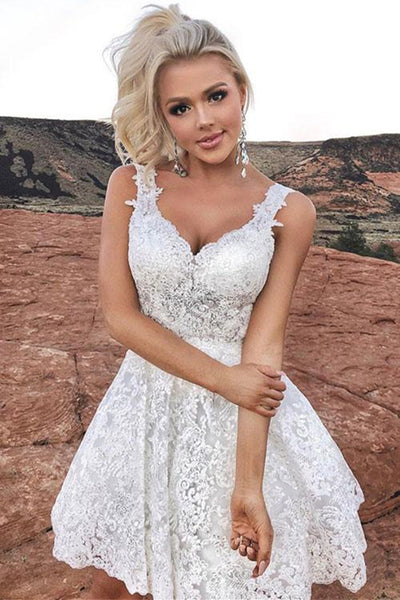 Cute V Neck Short White Lace Prom Homecoming Dress, White Lace Formal Dress, White Graduation Dress