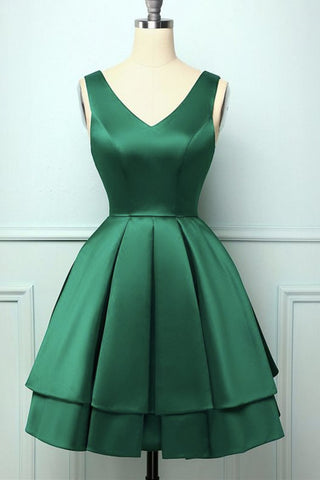 Cute V Neck and V Back Layered Green Short Prom Dress, Short Green Homecoming Dress, Green Formal Evening Dress