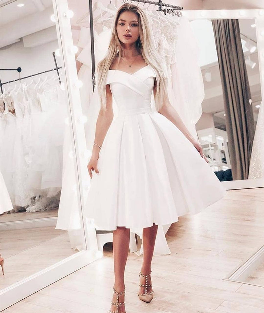 66d9b5e30fb Cute A Line Off Shoulder Short White Prom Dresses