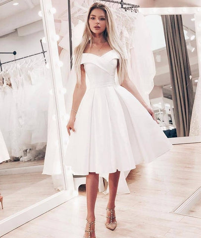 Cute A Line Off Shoulder Short White Prom Dresses, Off Shoulder White Homecoming Dresses, White Short Formal Graduation Evening Dresses