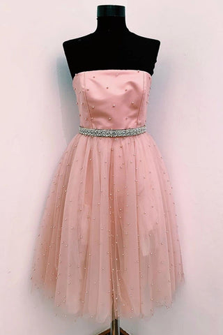 Cute A Line Strapless Beaded Pink Short Prom Dress Homecoming Dress, Strapless Pink Formal Graduation Evening Dress