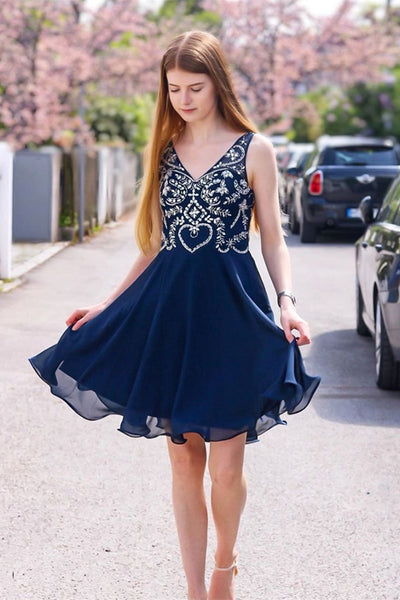 Cute A Line V Neck Beaded Navy Blue Short Prom Dresses Homecoming Dresses, Navy Blue Formal Dresses, Graduation Dresses