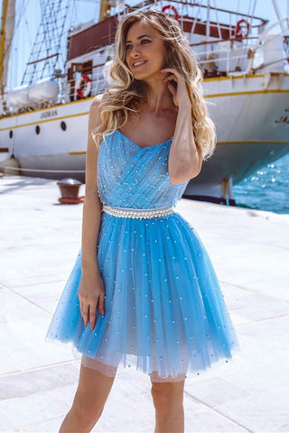 Cute Beaded Light Blue Tulle Short Prom Dress Homecoming Dress, Unique Light Blue Formal Graduation Evening Dress