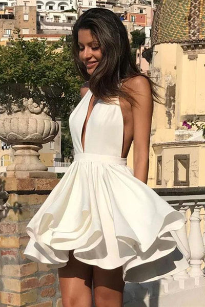 Cute Halter V Neck Backless Layered White Homecoming Dresses Short Prom Dresses, White Formal Evening Graduation Dresses 2019