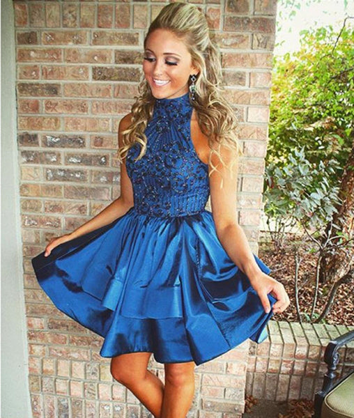 Cute High-Neck Sequin Beaded Short Blue Prom Dresses, Blue Homecoming Dresses
