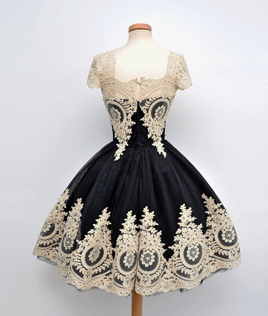 Cute Lace Applique Black Short Prom Dresses, Lace Applique ...