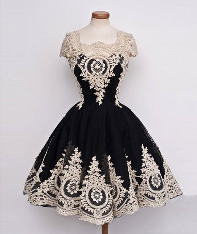 Cute Lace Applique Black Short Prom Dresses, Lace Applique Homecoming Dresses