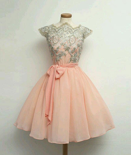 Cute Lace Pink Short Prom Dresses, Lace Pink Homecoming Dresses, Pink Short Formal Dresses