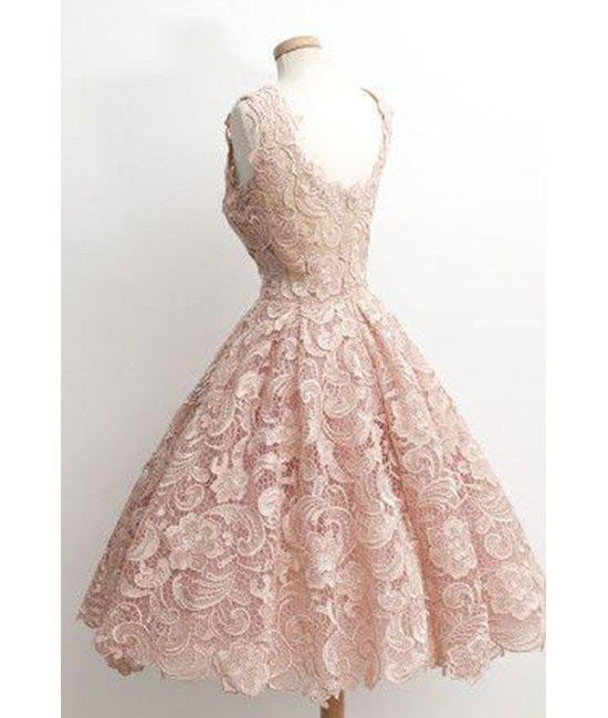 07d5fcb1fe3 ... Cute Light Pink Short Lace Prom Dresses