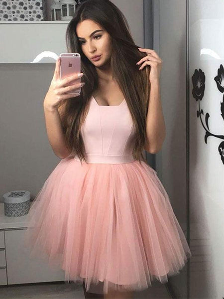 Cute Pink Tulle Short Prom Dresses Homecoming Dresses, Pink Short Formal Graduation Evening Dresses