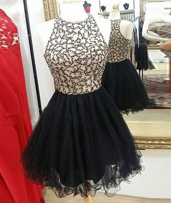 Cute Round-Neck Sequin Tulle Short Black Prom Dresses, Black ...