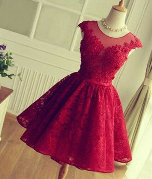 Cute Round Neck Red Lace Short Prom Dresses, Red Homecoming Dresses