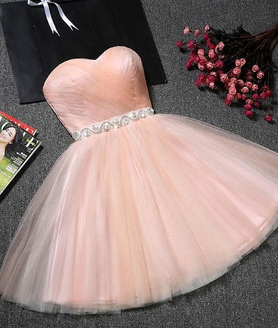Cute Sweetheart Neck Backless Pink Short Prom Dresses, Backless Pink Homecoming Dresses, Pink Formal Evening Graduation Dresses
