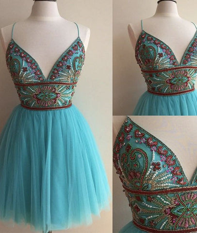 Cute V-Neck Tulle Short Blue Prom Dresses, Blue Homecoming Dresses